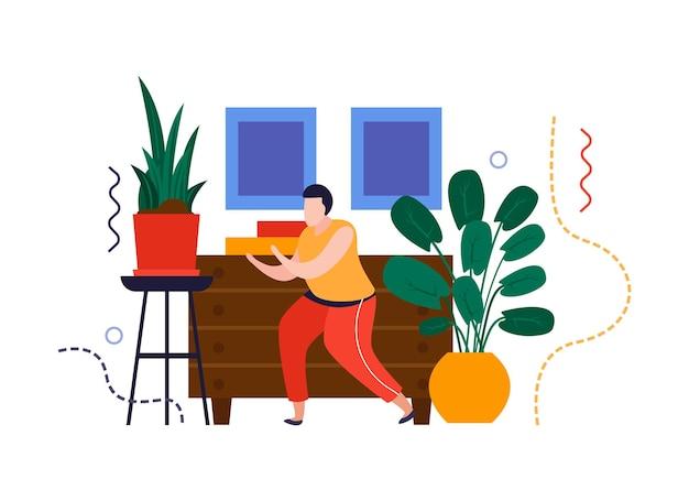 Composizione piatta nel giardino di casa con elementi interni domestici e uomo che si prende cura delle piante domestiche illustrazione vettoriale