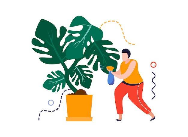 Composizione piatta nel giardino di casa con personaggio maschile che spruzza acqua sull'illustrazione vettoriale della pianta domestica