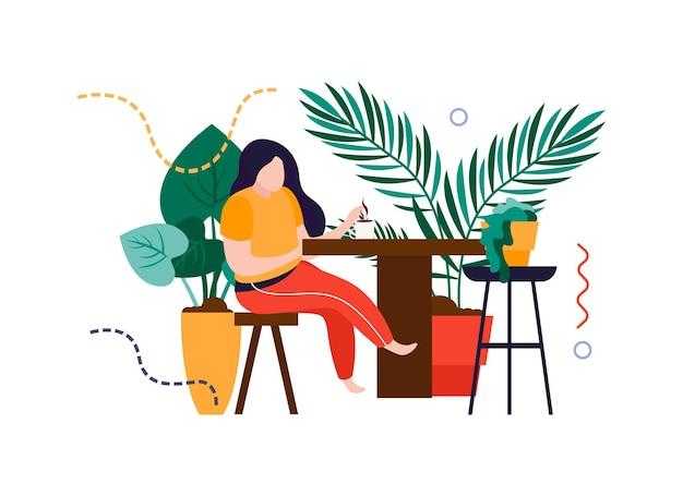가정 식물 벡터 일러스트 레이 션으로 둘러싸인 테이블에 앉아 여자와 가정 정원 평면 구성