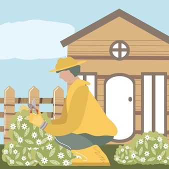 Home garden, gardener with scissors trimming flowers in front of the house  illustration