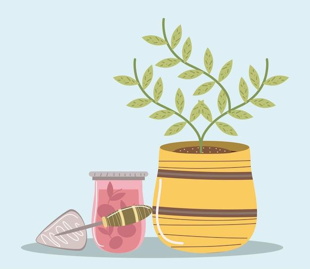 냄비 주스와 삽 도구 그림에서 집 정원 식물