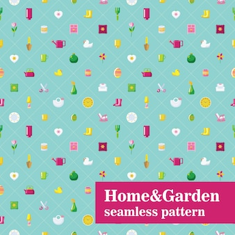 Home and garden seamless pattern. diagonal tiles with household objects.