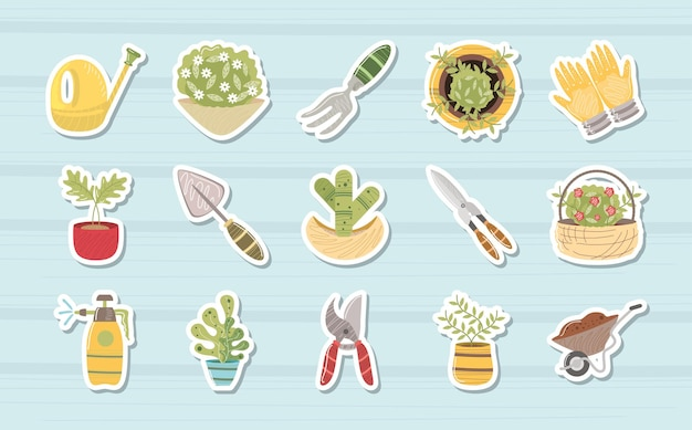 집 정원 물을 수 식물 가위 수레 아이콘 그림을 갈퀴