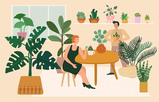 Home garden. woman plant greenery, relaxing in cozy room.
