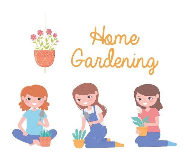 家の園芸、鍋とシャベルのイラストで植物を持つ女の子のセット