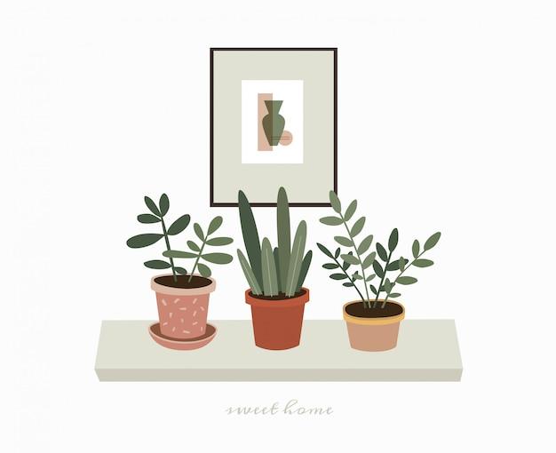Домашние зеленые горшечные растения на полке. комнатные растения и картины для украшения интерьера дома. скандинавский стиль иллюстрации, декор дома. иллюстрация на белом фоне изолированные.