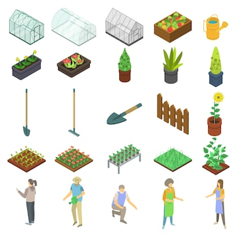 Home greenhouse icons set, isometric style