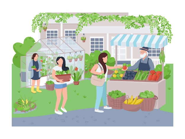 Home greenhouse   web banner, poster. gardeners and buyer  characters on cartoon background. gardening, veggies growing, organic produce selling printable patches, colorful web elements