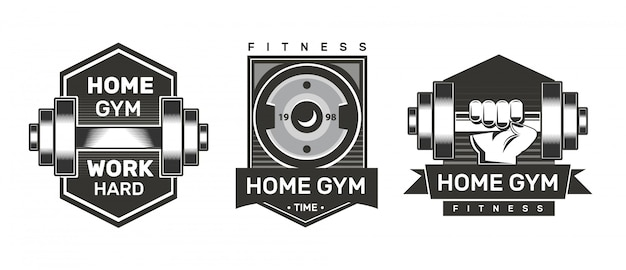 Home gym labels. fitness logo.