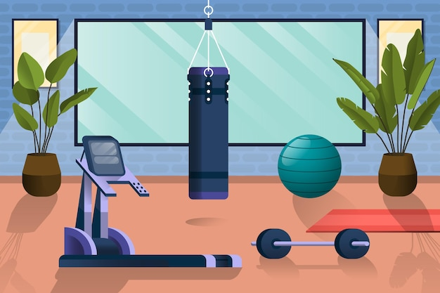Home gym with different workout elements