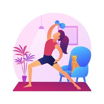 Иллюстрация абстрактной концепции домашней гимнастики. оставайтесь активными в условиях карантина, силовых тренировок онлайн, программы упражнений, домашних тренировок, социальной дистанции, прямой трансляции фитнеса.