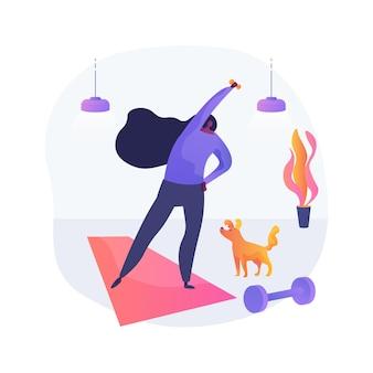 홈 체조 추상 개념 벡터 일러스트 레이 션. 격리, 온라인 파워 트레이닝, 운동 프로그램, 집에서하는 운동, 사회적 거리, 피트니스 라이브 스트림 추상 은유 속에서 활동적인 상태를 유지하세요.