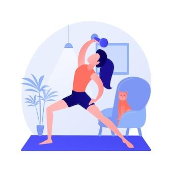 Illustrazione di vettore di concetto astratto di ginnastica domestica. resta attivo durante la quarantena, l'allenamento di potenza online, il programma di esercizi, l'allenamento a casa, la distanza sociale, la metafora astratta del live streaming di fitness.