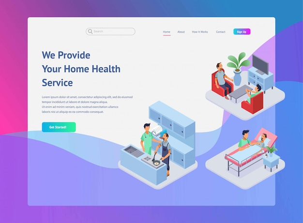 Home health care illustration for landing page design