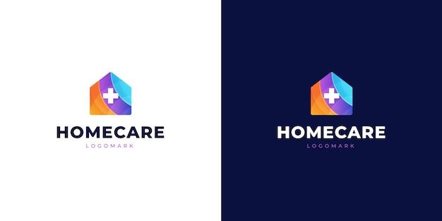 在宅医療または医療のモダンなグラデーションのロゴ
