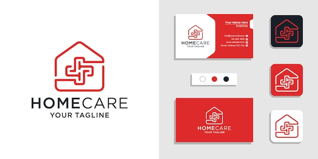 在宅医療医療プラス記号のロゴと名刺デザインのインスピレーションテンプレート