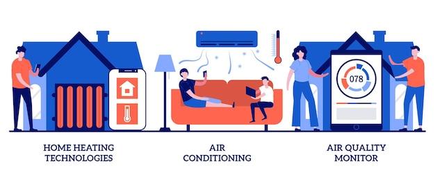 작은 사람들과 함께 가정 난방 기술, 에어컨 및 품질 모니터 개념. 홈 자동화 벡터 일러스트 레이 션을 설정합니다. 에너지 절약, 스마트 냉각, 공기 필터링, 온도 조절기 은유.