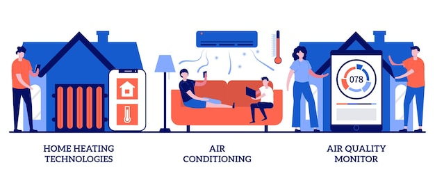 Home heating technologies, air conditioning and quality monitor concept with tiny people. home automation vector illustration set. save energy, smart cooling, air filtering, thermostat metaphor.