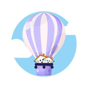 Home hot air balloon mascot character logo