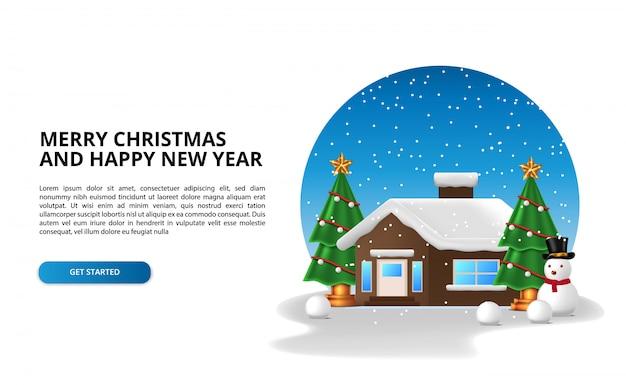 雪の冬の季節にクリスマスツリーと雪だるまの文字で家の家を建てます。メリークリスマス、そしてハッピーニューイヤー。