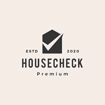 Home house check  vintage logo  icon illustration