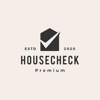 ホームハウスチェックビンテージロゴアイコンイラスト