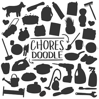 Home house chores silhouette vector clip art design shape