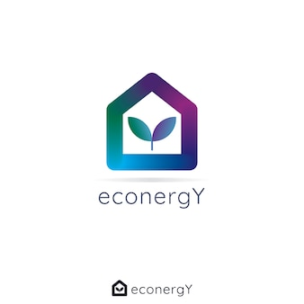 집 집 잎 로고. 초기 편지 y. 가역 자연 에너지 컨셉 디자인. 3d 색상의 간단한 로고.