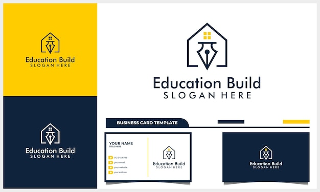Home or house logo design with education icon symbol concept and business card template
