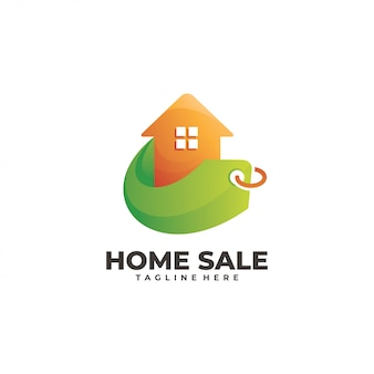 Home house and price tag sale logo