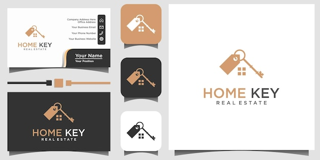 Home house real estate key logo design vector template business card background