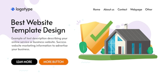Home house secure insurance protection shield concept website template mockup design, internet digital protected system lock security safety guard defence web banner layout vector flat image