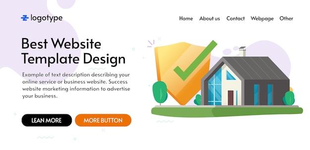 Домашний дом безопасная страховая защита щит концепция шаблон веб-сайта макет дизайна, интернет цифровая защищенная система замок безопасность охранник защита веб-баннер макет векторное плоское изображение