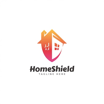 Home house and security shield logo