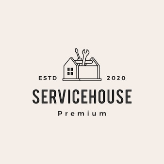 Домашний дом службы битник старинный логотип значок иллюстрации