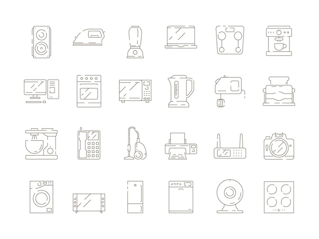 Home households items. kitchen electrical appliances mixer microwave tv computer refrigerator vector thin line icons