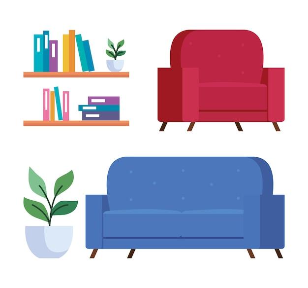 ホームアイコンコレクションのデザイン、部屋と装飾のテーマ