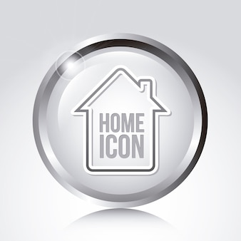 Home icon over gray background vector illustration