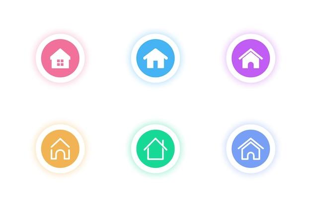 ホームアイコン。ホームページ。ホームボタンアイコンのコレクション。インフォグラフィック、ロゴ、アプリ開発、ウェブサイトのデザインのための標識のセット。