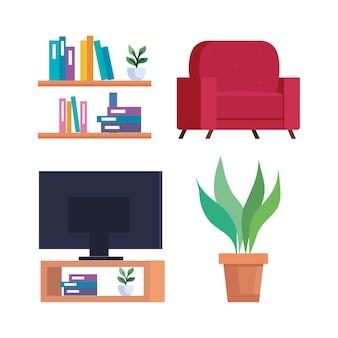 ホームアイコンセットのデザイン、部屋、装飾のテーマ