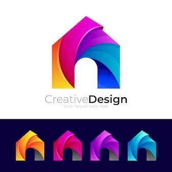 ホームアイコンベクトル、カラフルな建物のロゴ、3dスタイル