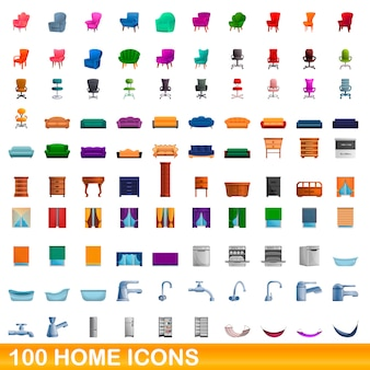 Home icons set, cartoon style
