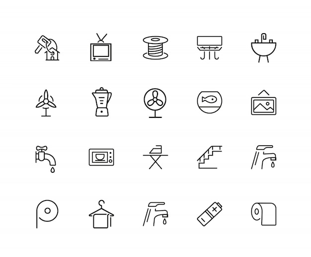 Home icons. set of twenty line icons. electric fan, ironing, battery.