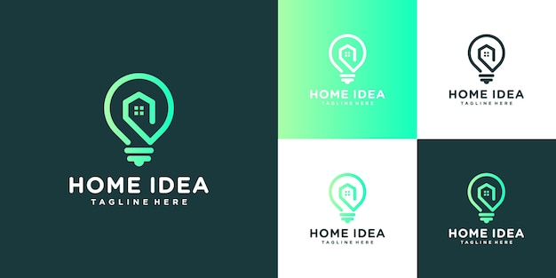 Home idea logo. light bulb and home with line art style .