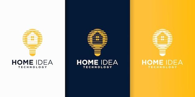 ホームアイデア技術ロゴデザイン、ラインコンセプトスタイル