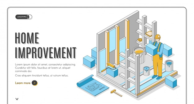 Home improvement isometric banner