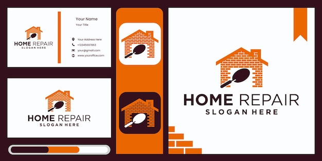 Home improvement logo template design, home renovation real estate home improvement company logo with elegant and luxurious business card display Premium Vector