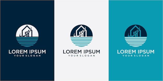 원의 홈과 물 로고 디자인 컨셉입니다. 홈 로고. 물 로고. 원 로고