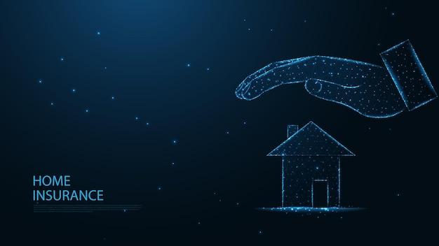 住宅保険のコンセプトライン接続。低ポリワイヤーフレームデザイン。抽象的な幾何学的な背景。ベクトルイラスト。