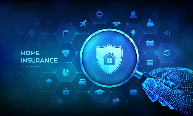 손에 돋보기와 홈 보험 개념입니다. 부동산 보험. 가상 화면에 돋보기.